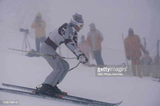 Erika Hess competing in the Women's skiing event at the 1984 Winter Olympics / XIV Olympic Winter Games, Jahorina.