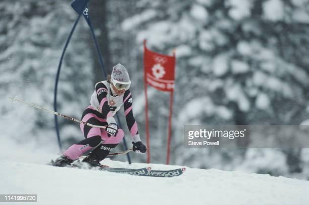 Erika Hess of Switzerland during the Women's Giant Slalom at the XIV Olympic Winter Games on 13 February 1984 in Jahorina, Sarajevo,Yugoslavia.