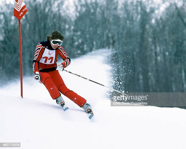 Erika Hess of Switzerland in action during the Women's Giant Slalom event at the Winter Olympic Games in Lake Placid, USA on 21st February 1980.