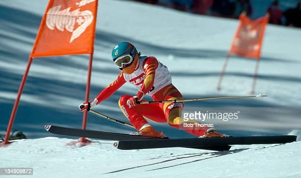 Erika Hess of Switzerland in the women's downhill event during the Alpine Ski World Championships in Crans Montana, circa 1987.