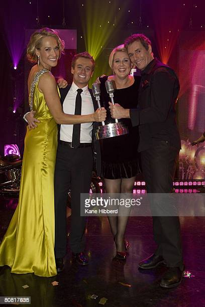 Erika Heyntaz Grant Denyer Julia Morris and David Hobson take part in the grand final of 'It Takes Too' at the Seven Network's Global Studios on...