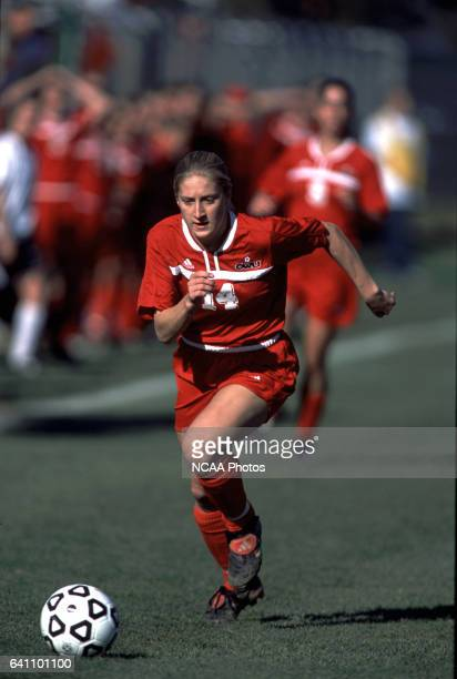 Erika Howland of Ohio Wesleyan University dribbles the ball downfield, during the Divison 3 Women's Soccer Championships held at Roy Rike Field on...