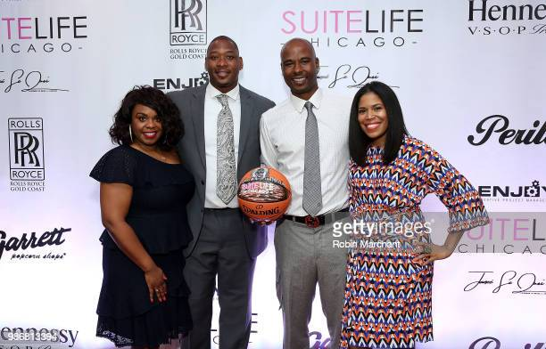 Erika Janee Jordan Bobby Simmons Quentin Richardson and Joy Glover attend Suite Life Welcome The BIG 3 NBA Veterans To Chicago at Perillo Rolls Royce...