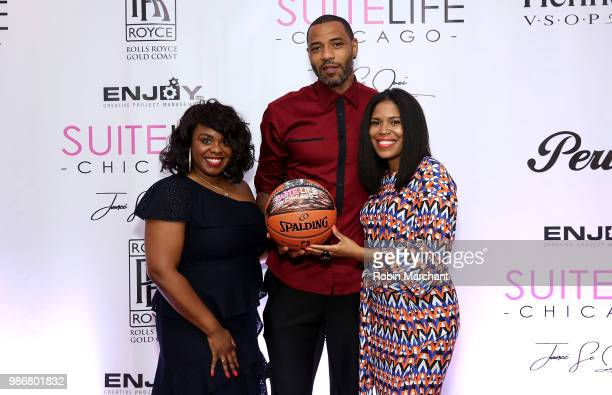 Erika Janee Jordan Kenyon Martin and Joy Glover attend Suite Life Welcome The BIG 3 NBA Veterans To Chicago at Perillo Rolls Royce on June 28 2018 in...