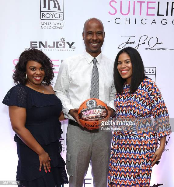 Erika Janee Jordan Quentin Richardson and Joy Glover attend Suite Life Welcome The BIG 3 NBA Veterans To Chicago at Perillo Rolls Royce on June 28...
