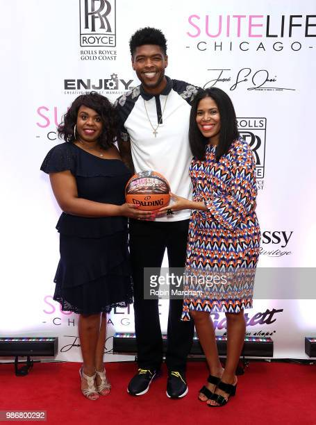 Erika Janee Jordan Ryan Gomes and Joy Glover attend Suite Life Welcome The BIG 3 NBA Veterans To Chicago at Perillo Rolls Royce on June 28 2018 in...