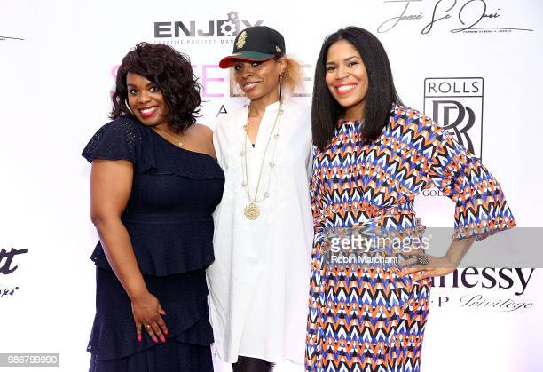Erika Janee Jordan Sparkles and Joy Glover attend Suite Life Welcome The BIG 3 NBA Veterans To Chicago at Perillo Rolls Royce on June 28 2018 in...