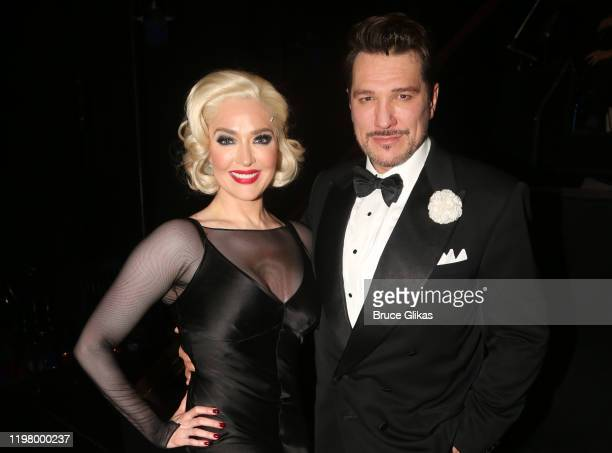 """Erika Jayne as """"Roxie Hart"""" and Paulo Szot as """"Billy Flynn"""" pose backstage at the hit musical """"Chicago"""" on Broadway at The Ambassador Theater on..."""