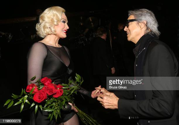 """Erika Jayne as """"Roxie Hart"""" and Tommy Tune chat backstage at the hit musical """"Chicago"""" on Broadway at The Ambassador Theater on January 6, 2020 in..."""