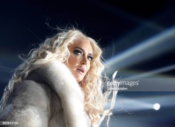 Erika Jayne performs at Jeffrey Sanker's 2018 White Party on April 28 2018 in Palm Springs California