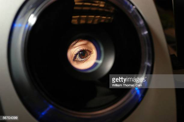 Erika Jimenez, a fourth grade teacher in the school district, has her iris recorded into the iris recognition system at Park Avenue Elementary School...