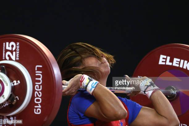 Erika Johanna Ortega of Panama lifts during the Women's Weightlifting 49kg Group A on Day 1 of the Lima 2019 Pan Am Games at Mariscal Cáceres...
