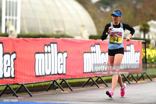 Erika Kelly competes in the womens 20km walking race during the Muller British Athletics Marathon and 20km Walk Trials at Kew Gardens on March 26,...