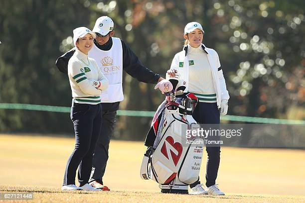 Erika Kikuchi and Ayaka Watanabe of Japan smile during the first round of the THE QUEENS Presented By KOWA at the Miyoshi Country Club West Course on...