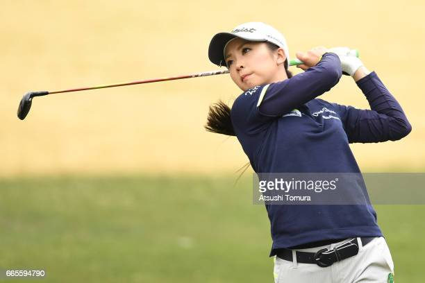 Erika Kikuchi of Japan hits her second shot on the 18th hole during the first round of the Studio Alice Open at the Hanayashiki Golf Club Yokawa...