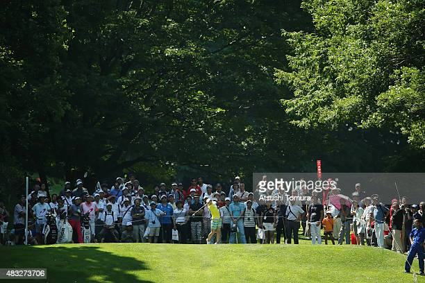 Erika Kikuchi of Japan hits her tee shot on the 12th hole during the first round of the meiji Cup 2015 at the Sapporo Kokusai Country Club on August...