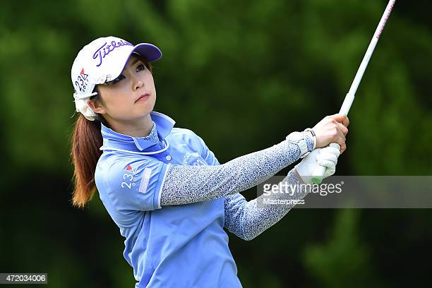 Erika Kikuchi of Japan hits her tee shot on the 16th hole during the third round of the CyberAgent Ladies Golf Tournament at the Tsurumai Country...