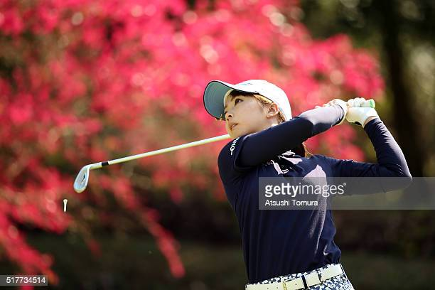 Erika Kikuchi of Japan hits her tee shot on the 16th hole during the final round of the AXA Ladies Golf Tournament at the UMK Country Club on March...