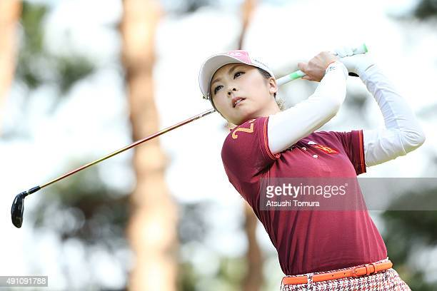 Erika Kikuchi of Japan hits her tee shot on the 17th hole during the third round of Japan Women's Open 2015 at the Katayamazu Golf Culb on October 3...