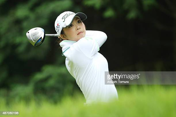Erika Kikuchi of Japan hits her tee shot on the 2nd hole during the final round of the Golf 5 Ladies Tournament 2015 at the Mizunami Country Club on...