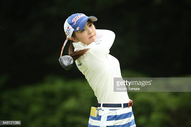 Erika Kikuchi of Japan hits her tee shot on the 6th hole during the final round of the Earth Mondamin Cup at the Camellia Hills Country Club on June...