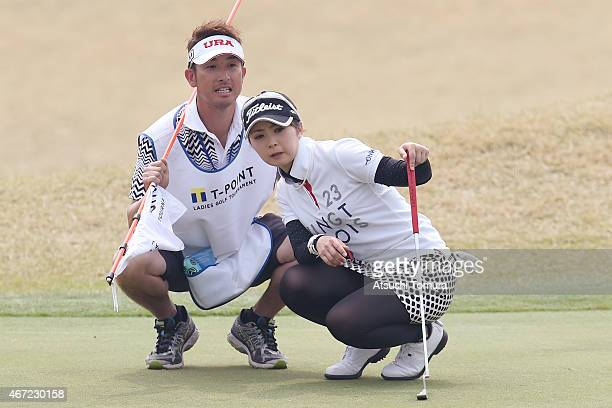 Erika Kikuchi of Japan lines during the final round of the TPoint Ladies Golf Tournament at the Wakagi Golf Club on March 22 2015 in Takeo Japan