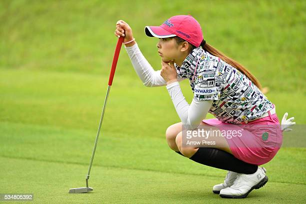 Erika Kikuchi of Japan lines up her putt on the 4th green during second round of the Resorttrust Ladies at the Grandee Naruto Golf Club XIV on May 28...