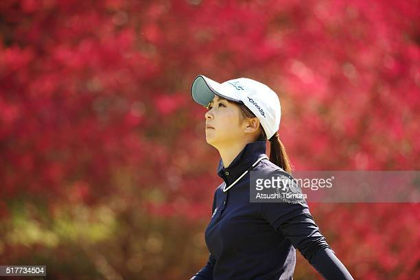 Erika Kikuchi of Japan looks on during the final round of the AXA Ladies Golf Tournament at the UMK Country Club on March 27 2016 in Miyazaki Japan