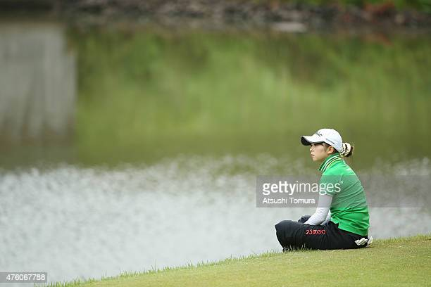 Erika Kikuchi of Japan looks on during the second round of the Yonex Ladies Golf Tournament 2015 at the Yonex Country Club on June 6 2015 in Nagaoka...