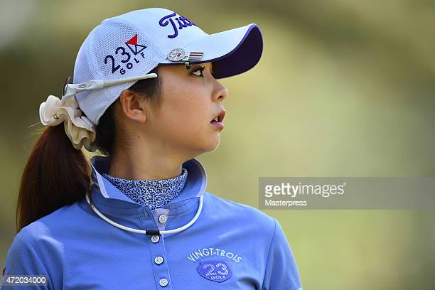 Erika Kikuchi of Japan looks on during the third round of the CyberAgent Ladies Golf Tournament at the Tsurumai Country Club West Course on May 3...