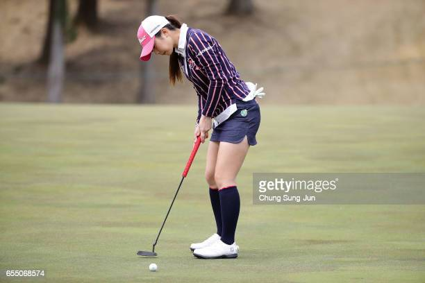 Erika Kikuchi of Japan plays a shot on the on the 6th green during the T-Point Ladies Golf Tournament at the Wakagi Golf Club on March 19, 2017 in...