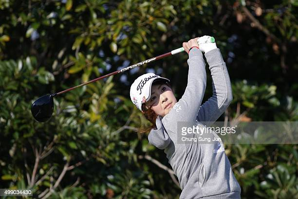 Erika Kikuchi of Japan plays a tee shot on the 3rd hole during the third round of the LPGA Tour Championship Ricoh Cup 2015 at the Miyazaki Country...