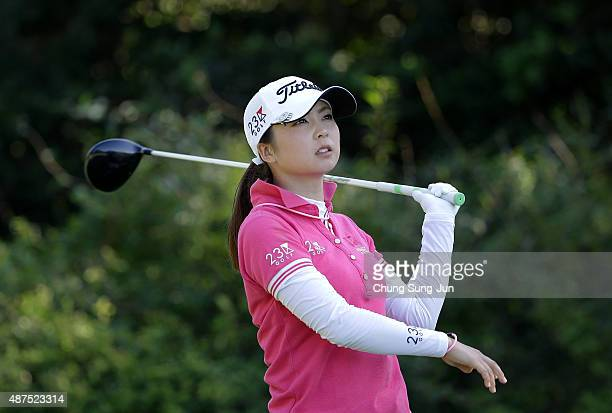 Erika Kikuchi of Japan plays a tee shot on the third hole during the first round of the 48th LPGA Championship Konica Minolta Cup 2015 at the Passage...