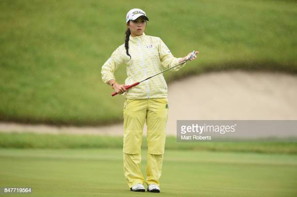 Erika Kikuchi of Japan prepares to putt on the 18th green during the second round of the Munsingwear Ladies Tokai Classic 2017 at the Shin Minami...