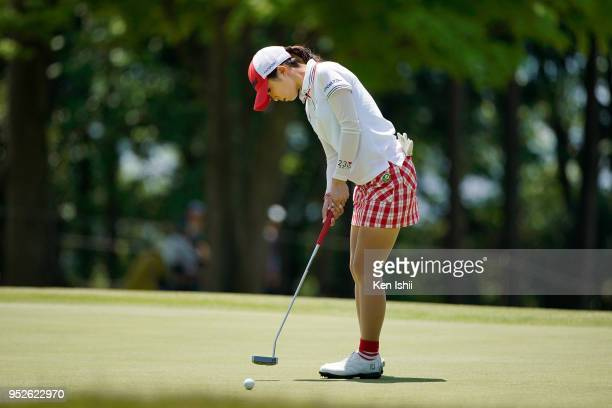 Erika Kikuchi of Japan putts on the 15th green during the final round of the CyberAgent Ladies Golf Tournament at Grand fields Country Club on April...