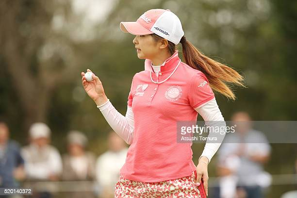 Erika Kikuchi of Japan reacts after making her birdie putt on the 16th hole during the final round of the Studio Alice Open at the Hanayashiki Golf...