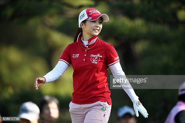 Erika Kikuchi of Japan Smails during the first round of the World Ladies Championship Salonpas Cup at the Ibaraki Golf Club on May 5 2016 in...