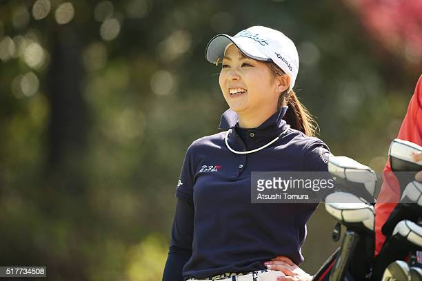 Erika Kikuchi of Japan smiles during the final round of the AXA Ladies Golf Tournament at the UMK Country Club on March 27 2016 in Miyazaki Japan