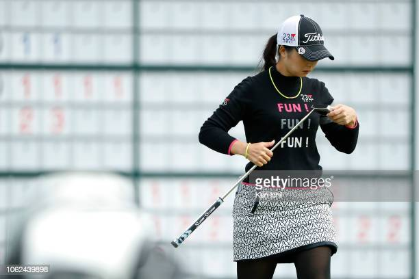 Erika Kikuchi of Japan walks off the 18th green during the first round of the TOTO Japan Classic at Seta Golf Course on November 02 2018 in Otsu...
