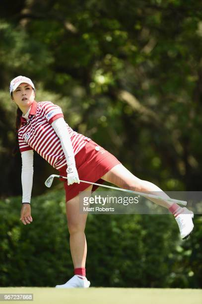 Erika Kikuchi of Japan watches her tee shot on the 12th hole during the first round of the Hoken No Madoguchi Ladies at the Fukuoka Country Club on...