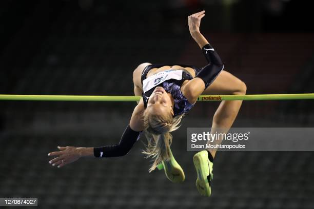 Erika Kinsey of Sweden competes in the High jump competition during the Memorial Van Damme Brussels 2020 Diamond League meeting at King Baudouin...