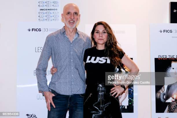 Erika Lust Swedish erotic film director poses with partner producer Pablo Dobner during the 33 Guadalajara International Film Festival on March 15...