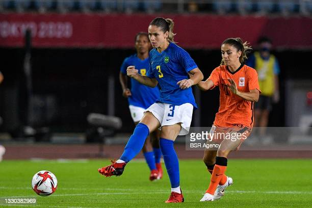 Erika of Brazil, Danielle van de Donk of the Netherlands during the Tokyo 2020 Olympic Football Tournament match between Netherlands and Brazil at...