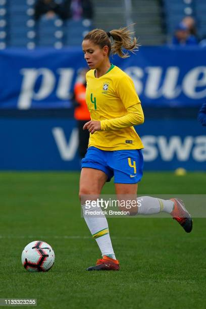 Erika of Brazil plays during the 2019 SheBelieves Cup match between Brazil and Japan at Nissan Stadium on March 2 2019 in Nashville Tennessee