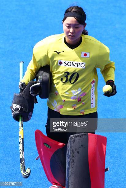 Erika of Japan during FIH Hockey Women's World Cup 2018 Day Three match Pool D game 9 between Japan and New Zealand at Lee Valley Hockey & Tennis...