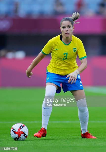 Erika of Team Brazil controls the ball during the Women's First Round Group F match between China and Brazil during the Tokyo 2020 Olympic Games at...