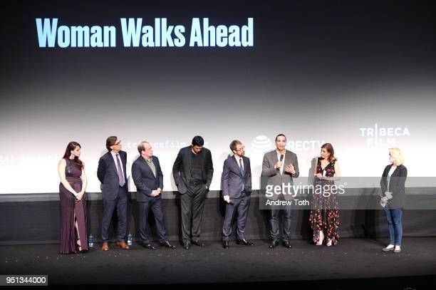 Erika Olde Bill Camp Chaske Spencer Sam Rockwell Michael Greyeyes and Susanna White speak during an DIRECTTV Premiere Of Women Walks Ahead At 2018...