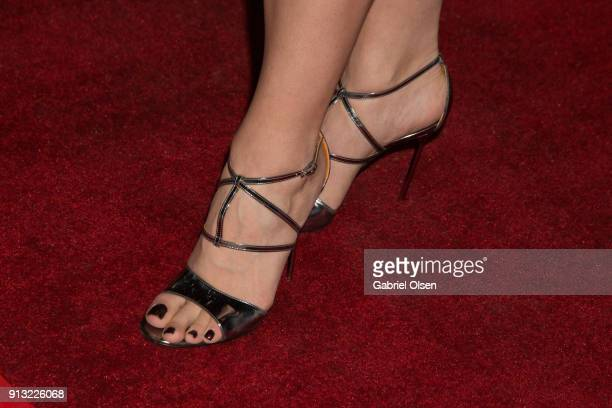 Erika Olde shoe detail arrives for the premiere of IFC Films' The Female Brain at ArcLight Hollywood on February 1 2018 in Hollywood California