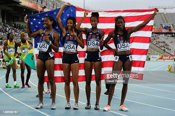 Erika Rucker Olivia Ekpone Kendall Baisden and Ashley Spencerc elebrate after winning the Women's 400 metres Relay Final on day six of the 14th IAAF...