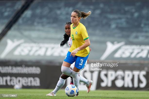 Erika Santos of Brazil and Nichelle Prince of Canada competes for the ball during the Women's International Friendly match between Brazil and Canada...